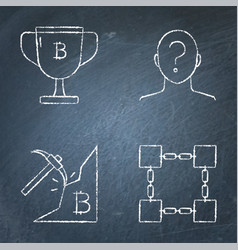 chalkboard bitcoin icon set in line style vector image