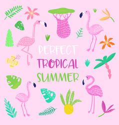 childish tropical summer design cute flamingos vector image