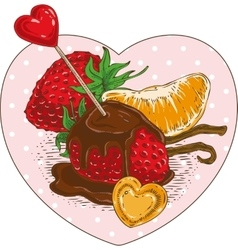Chocolate Covered Strawberries and Tangerine Slice vector