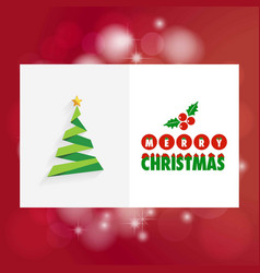 Chrismtas card with tree and red background vector