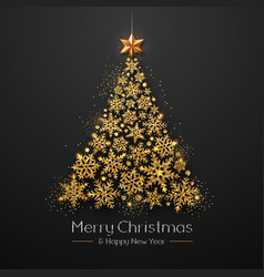 Christmas poster with golden christmas tree vector