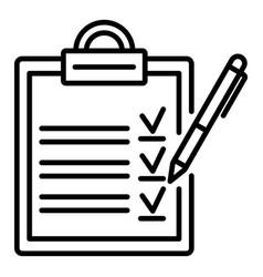 clipboard checklist icon outline style vector image
