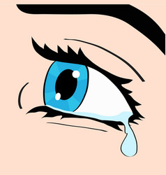 Close up of blue eye and tear a woman crying pop vector