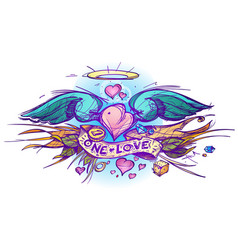 Colorful outline of a heart with wings in a hand vector