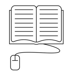 computer reading icon outline style vector image