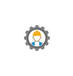 creative gear helmet worker contractor logo vector image