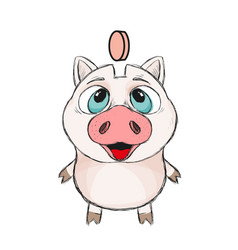 Cute funny piggy vector