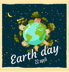 earth day planets in a background of space trees vector image