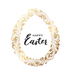 easter egg with curves ribbon confetti vector image