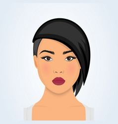 Face a beautiful young woman with modern short vector