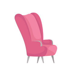 Flat icon of bright pink armchair side vector