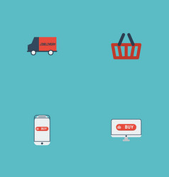 flat icons purchase bag shopping and other vector image