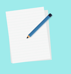 flat pencil with blank paper and isolated blue vector image