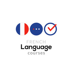 french language school logo course concept vector image