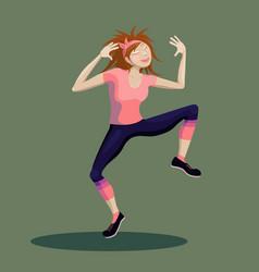 Funny cartoon girl character making aerobics dance vector