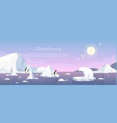global warming ice landscape vector image