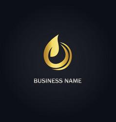 Gold leaf organic logo vector