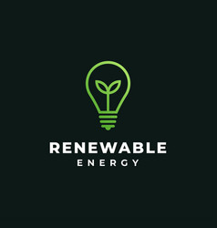 green leaf and bulb renewable energy ecology vector image