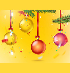 greeting card with confetti and color baubles vector image