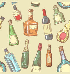 hand drawn bottles seamless pattern wine vector image