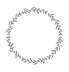 Hand drawn floral wreath round frame with leaves vector