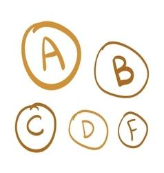 Hand drawn grades set of gold hand drawn vector