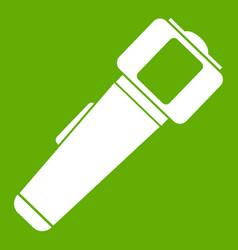 Hand flashlight icon green vector