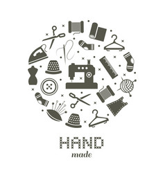 handmade round concept with sewing and knitting vector image