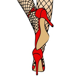 High Heels and Fishnet vector image