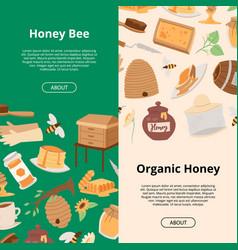 honey of banners cartoon honeycomb bee pod vector image
