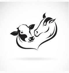 Horse head and cow head design on a white vector