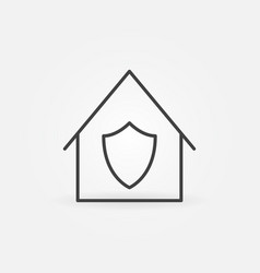 house with shield outline icon stay vector image