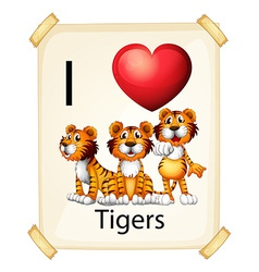 I love tigers vector image