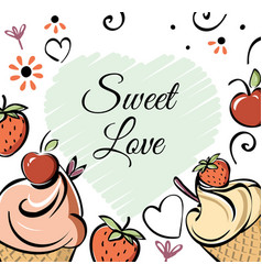 Ice cream with strawberry cherry banner black vector