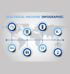Infographic design with electrical machine icons vector