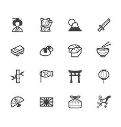 Japan element black icon set on white background vector
