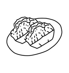 Kue balok icon doodle hand drawn or outline icon vector