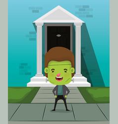 Little boy with costume frankenstein in house vector