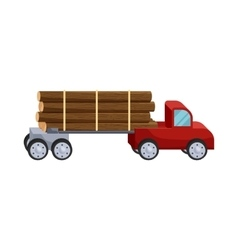 Logging truck logs icon cartoon style vector