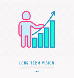Long-term vision thin line icon vector