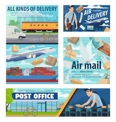 Mail delivery service post office parcels vector