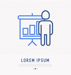 Man and graph with growth thin line icon vector