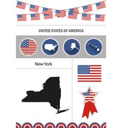 Map of new york set of flat design icons vector