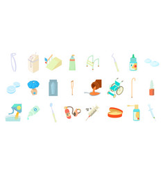 medical tools icon set cartoon style vector image