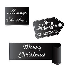 Merry christmas black sticker badge vector