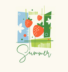 Mid century modern summer design strawberries vector