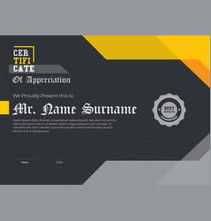 Modern certificate black elegant certificate vector