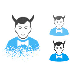 Moving pixelated halftone devil icon with face vector