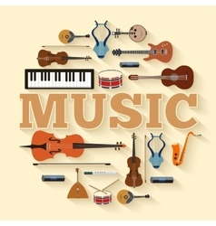 Music instruments circle infographics template vector