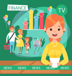 News broadcast on television finance statistics vector